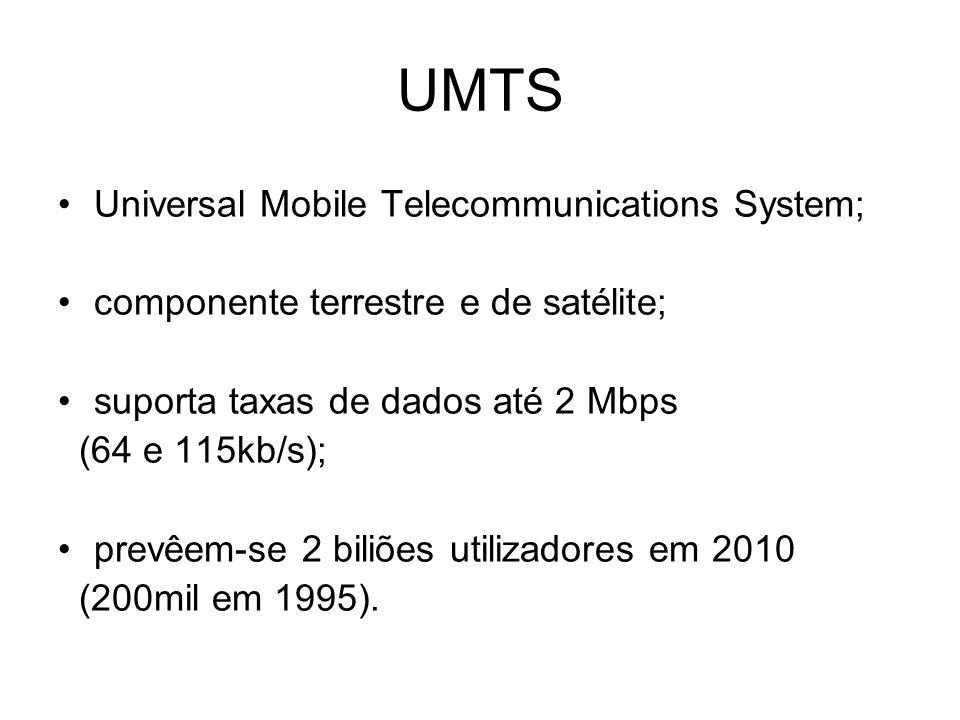 Espectro de frequências do UMTS Via Terrestre (LB = 155 MHz)Via Satélite (LB = 60 MHz) 1 900 – 1 920 MHz (1) 1 980 – 2 010 MHz 1 920 – 1 980 MHz (2) 2 170 – 2 200 MHz 2 010 – 2 025 MHz (1) 2 110 – 2 170 MHz (2) Legenda:(1) Europa (2) Europa e Japão