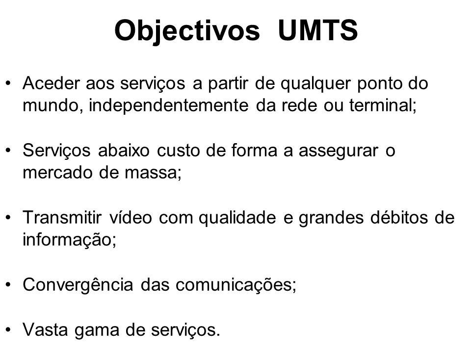 Objectivos UMTS Aceder aos serviços a partir de qualquer ponto do mundo, independentemente da rede ou terminal; Serviços abaixo custo de forma a assegurar o mercado de massa; Transmitir vídeo com qualidade e grandes débitos de informação; Convergência das comunicações; Vasta gama de serviços.