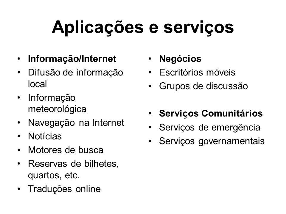 Aplicações e serviços Informação/Internet Difusão de informação local Informação meteorológica Navegação na Internet Notícias Motores de busca Reservas de bilhetes, quartos, etc.