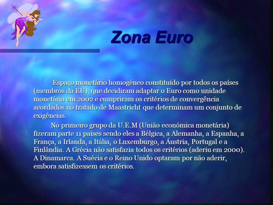 Zona Euro Zona Euro Espaço monetário homogéneo constituído por todos os países (membros da EU), que decidiram adaptar o Euro como unidade monetária em