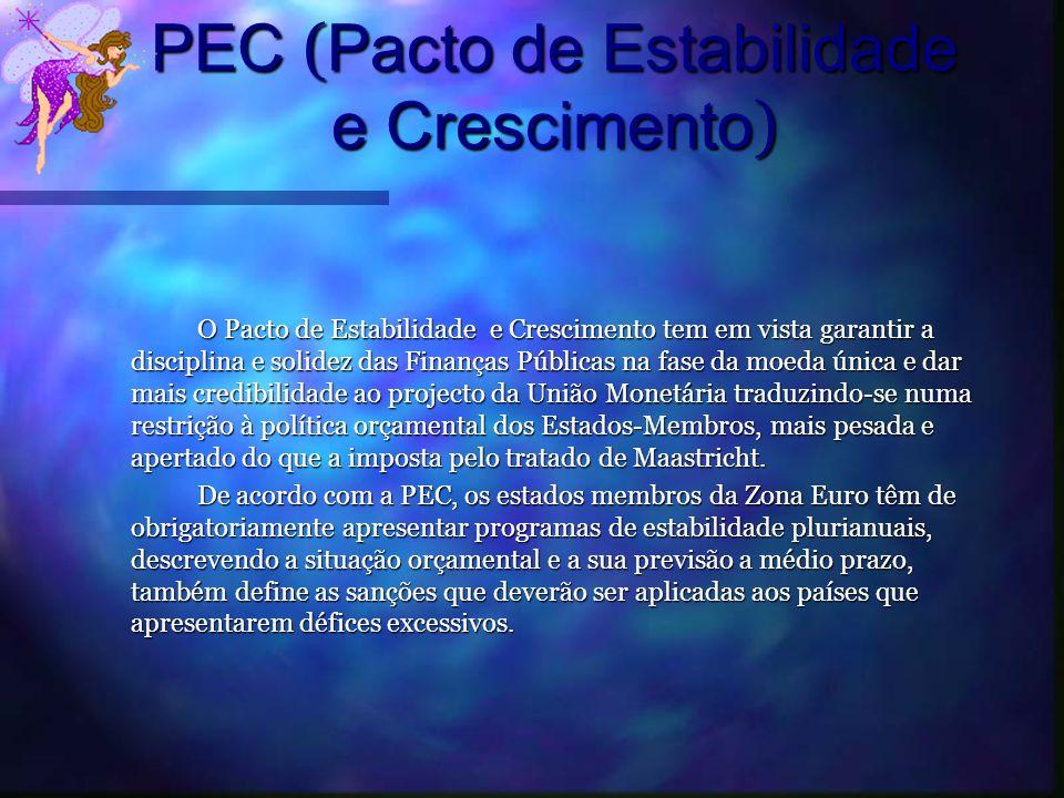 PEC ( Pacto de Estabilidade e Crescimento ) O Pacto de Estabilidade e Crescimento tem em vista garantir a disciplina e solidez das Finanças Públicas n