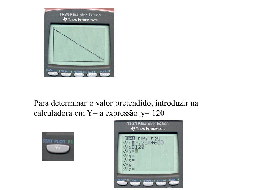 Para determinar o valor pretendido, introduzir na calculadora em Y= a expressão y= 120