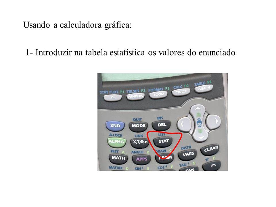 Usando a calculadora gráfica: 1- Introduzir na tabela estatística os valores do enunciado