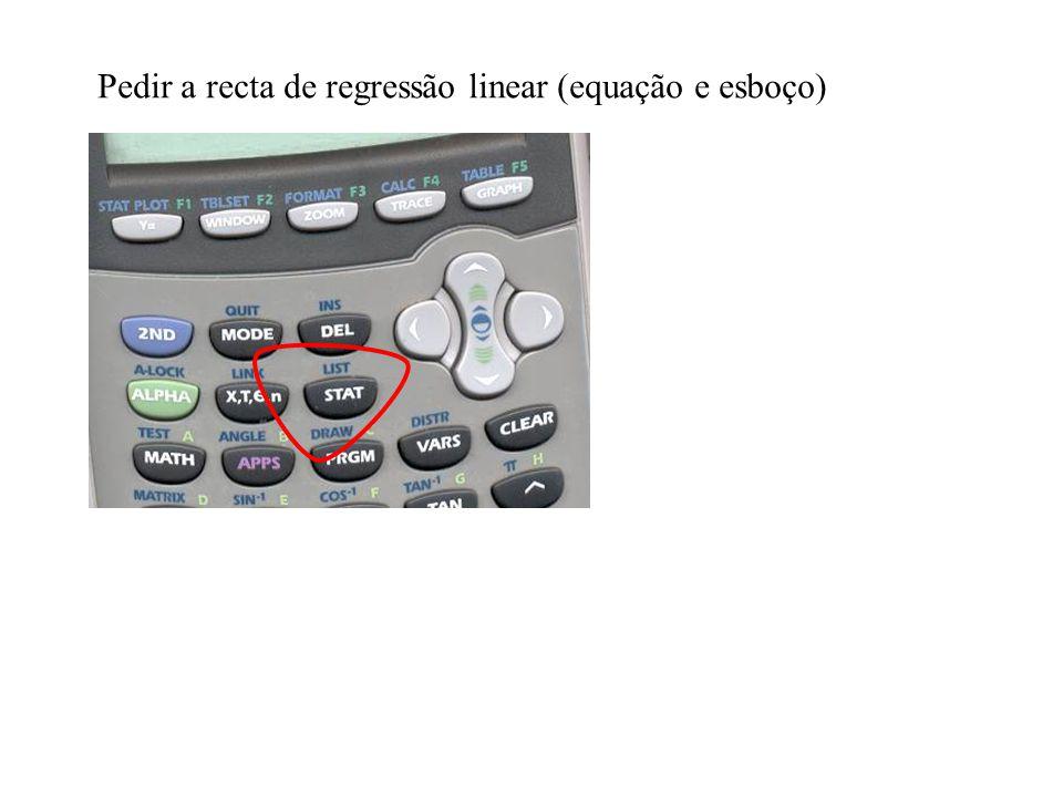 Pedir a recta de regressão linear (equação e esboço)