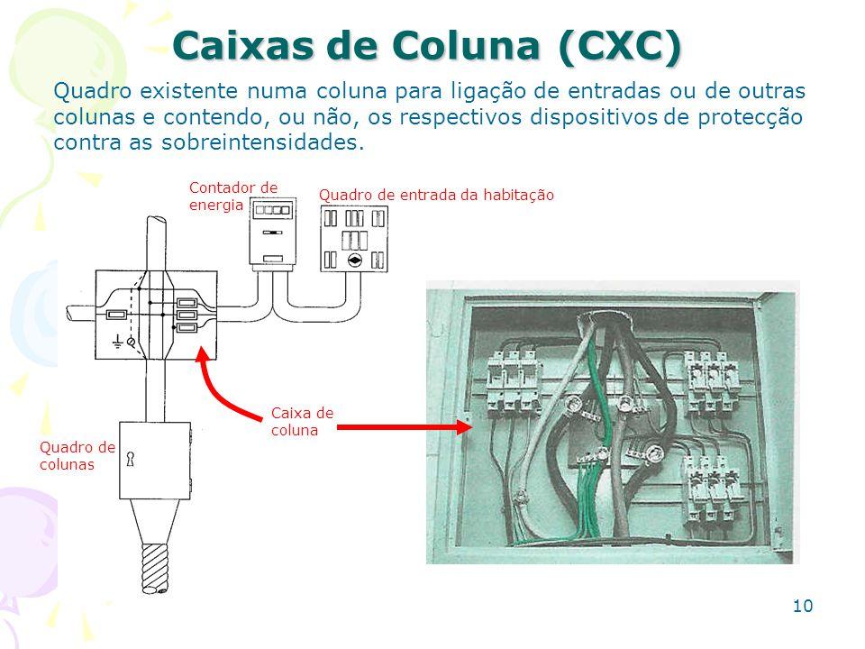 10 Caixas de Coluna (CXC) Quadro existente numa coluna para ligação de entradas ou de outras colunas e contendo, ou não, os respectivos dispositivos d