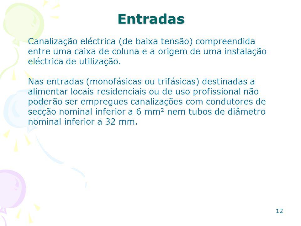 12 Entradas Canalização eléctrica (de baixa tensão) compreendida entre uma caixa de coluna e a origem de uma instalação eléctrica de utilização. Nas e