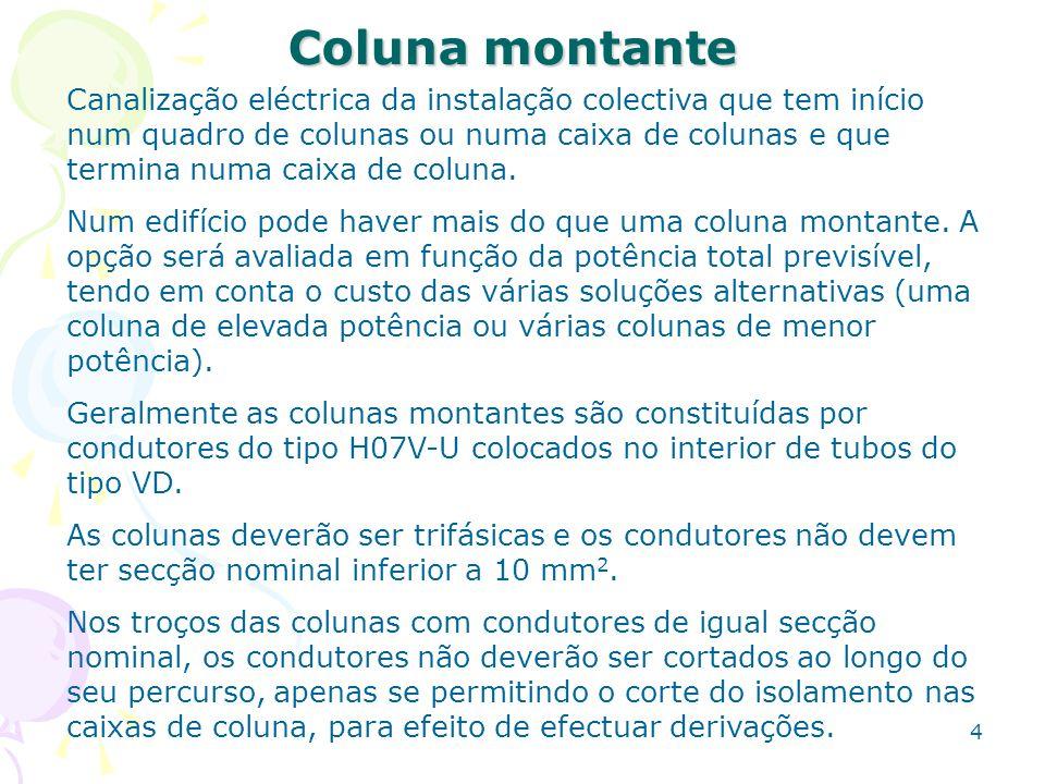 4 Coluna montante Canalização eléctrica da instalação colectiva que tem início num quadro de colunas ou numa caixa de colunas e que termina numa caixa