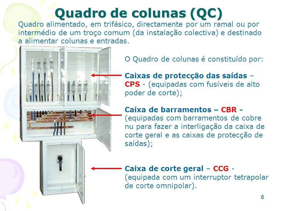 6 Quadro de colunas (QC) O Quadro de colunas é constituído por: Caixas de protecção das saídas – CPS - (equipadas com fusíveis de alto poder de corte)