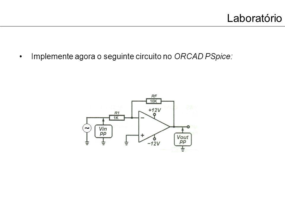 Laboratório Implemente agora o seguinte circuito no ORCAD PSpice: