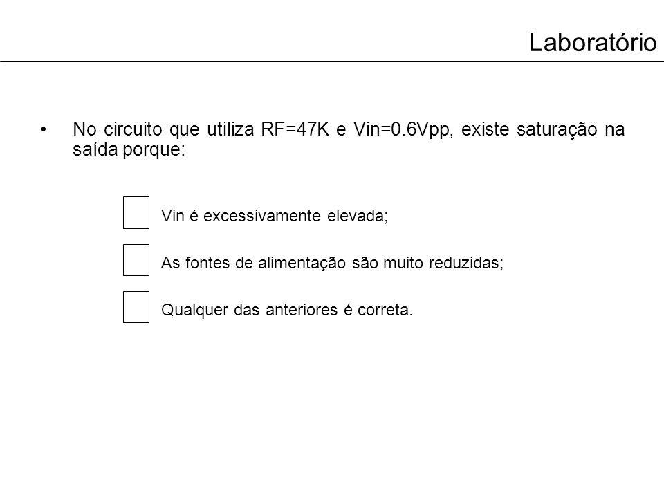 Laboratório No circuito que utiliza RF=47K e Vin=0.6Vpp, existe saturação na saída porque: Vin é excessivamente elevada; As fontes de alimentação são
