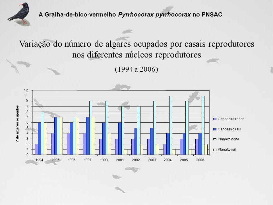 Variação do número de algares ocupados por casais reprodutores nos diferentes núcleos reprodutores (1994 a 2006) A Gralha-de-bico-vermelho Pyrrhocorax