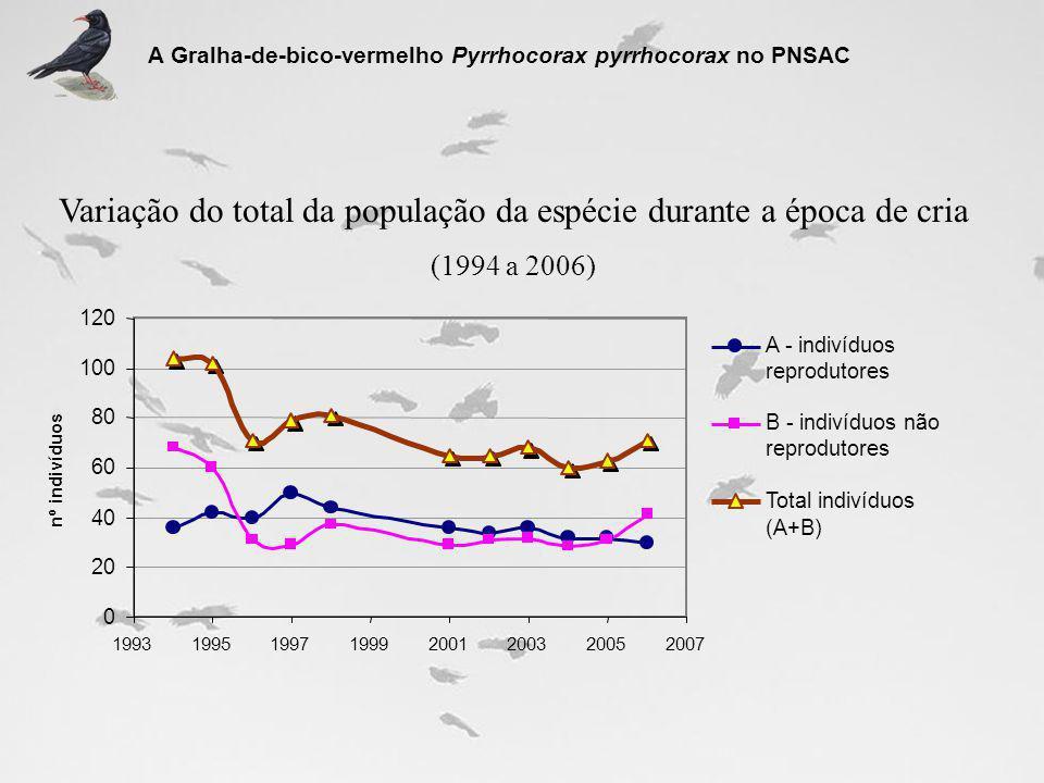 B - indivíduos não Variação do total da população da espécie durante a época de cria (1994 a 2006) A Gralha-de-bico-vermelho Pyrrhocorax pyrrhocorax n