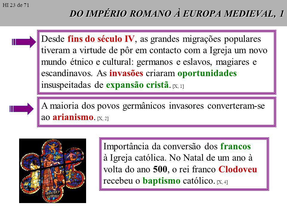DO IMPÉRIO ROMANO À EUROPA MEDIEVAL, 1 Desde fins do século IV, as grandes migrações populares tiveram a virtude de pôr em contacto com a Igreja um novo mundo étnico e cultural: germanos e eslavos, magiares e escandinavos.