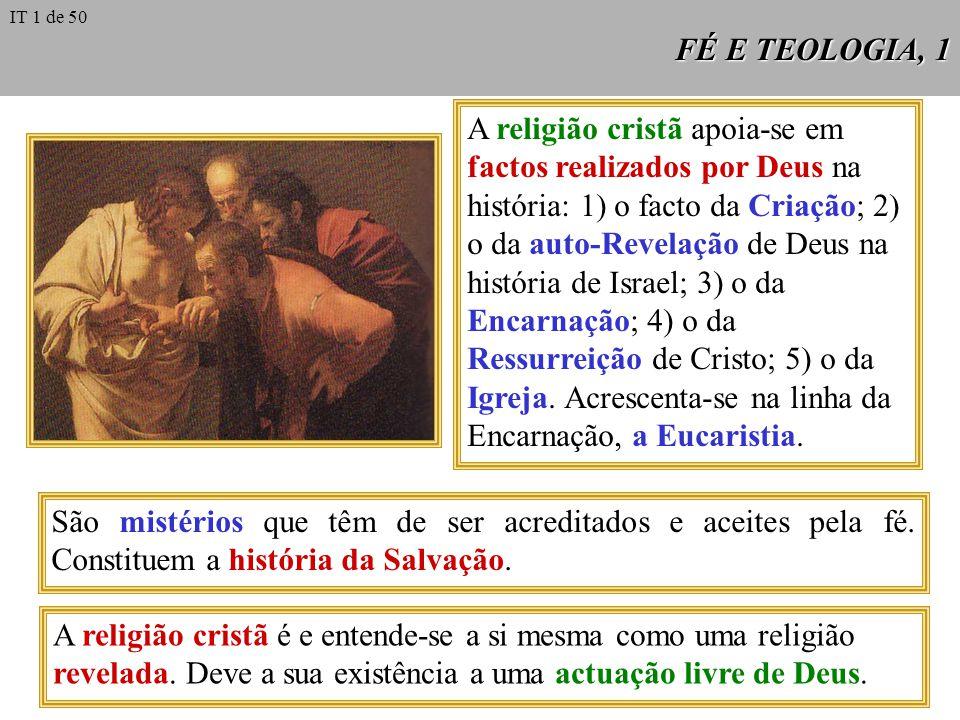 FÉ E TEOLOGIA, 1 A religião cristã apoia-se em factos realizados por Deus na história: 1) o facto da Criação; 2) o da auto-Revelação de Deus na história de Israel; 3) o da Encarnação; 4) o da Ressurreição de Cristo; 5) o da Igreja.