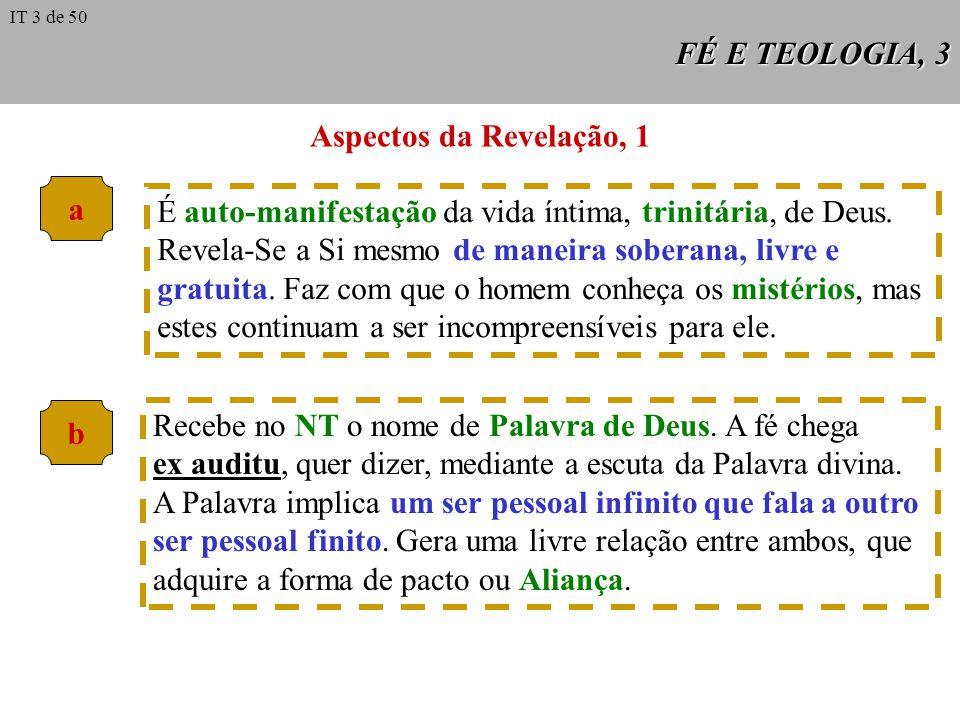 FÉ E TEOLOGIA, 3 Aspectos da Revelação, 1 a É auto-manifestação da vida íntima, trinitária, de Deus.