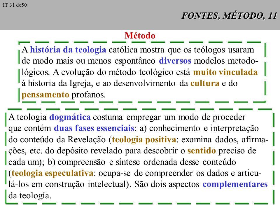 FONTES, MÉTODO, 11 Método A história da teologia católica mostra que os teólogos usaram de modo mais ou menos espontâneo diversos modelos metodo- lógi