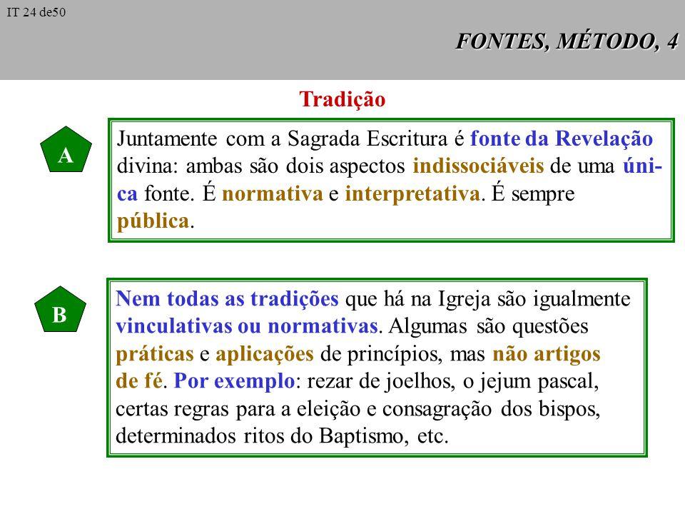 FONTES, MÉTODO, 4 Tradição A Juntamente com a Sagrada Escritura é fonte da Revelação divina: ambas são dois aspectos indissociáveis de uma úni- ca fon
