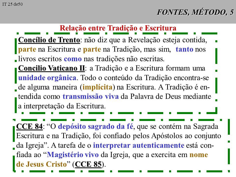 FONTES, MÉTODO, 5 Relação entre Tradição e Escritura Concílio de Trento Concílio de Trento: não diz que a Revelação esteja contida, parte na Escritura