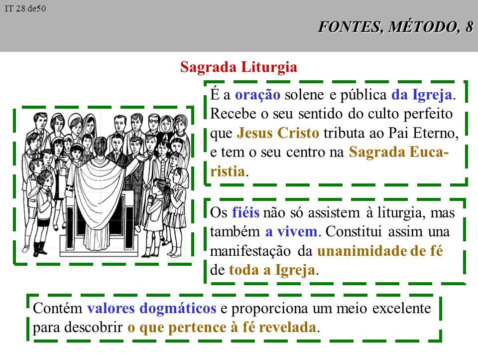FONTES, MÉTODO, 8 Sagrada Liturgia É a oração solene e pública da Igreja. Recebe o seu sentido do culto perfeito que Jesus Cristo tributa ao Pai Etern