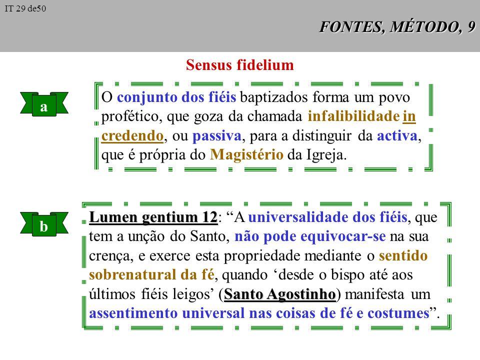 FONTES, MÉTODO, 9 Sensus fidelium a O conjunto dos fiéis baptizados forma um povo profético, que goza da chamada infalibilidade in credendo, ou passiv