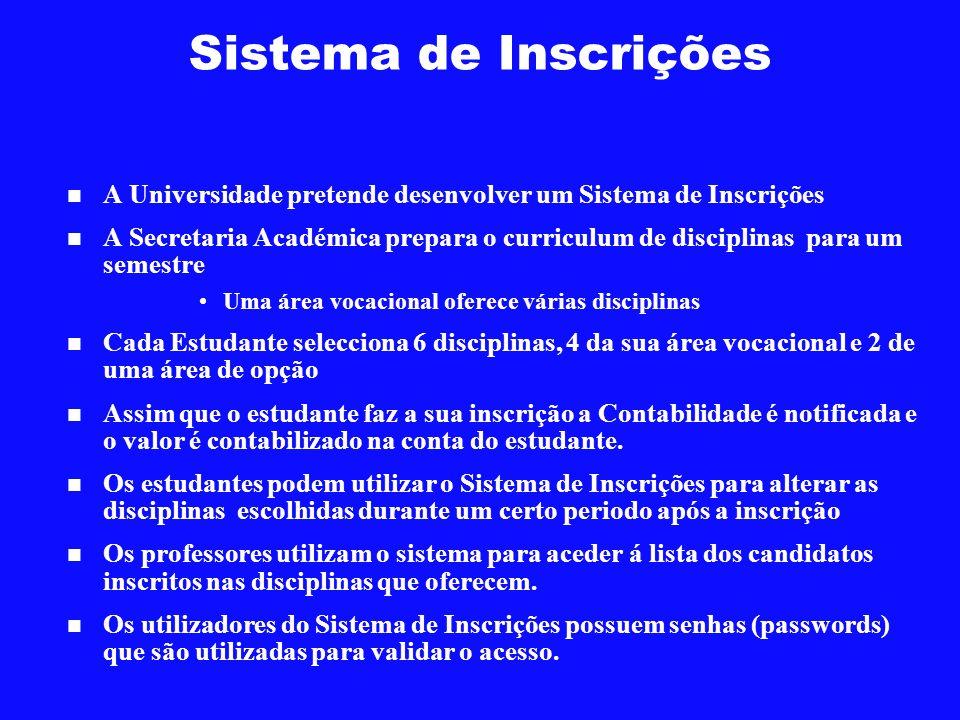 Sistema de Inscrições A Universidade pretende desenvolver um Sistema de Inscrições A Secretaria Académica prepara o curriculum de disciplinas para um
