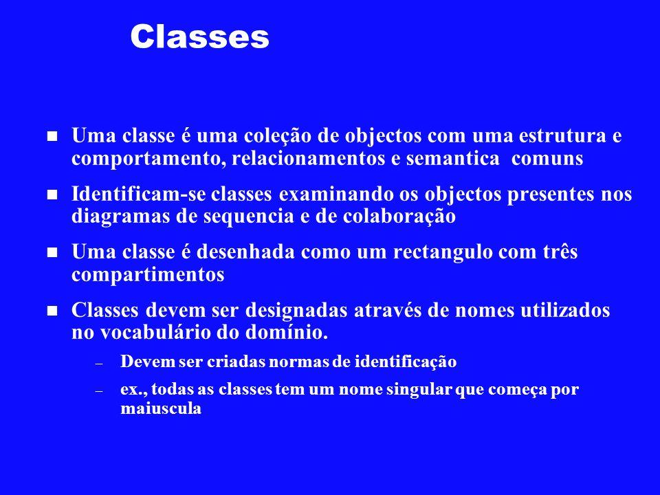 Classes Uma classe é uma coleção de objectos com uma estrutura e comportamento, relacionamentos e semantica comuns Identificam-se classes examinando o