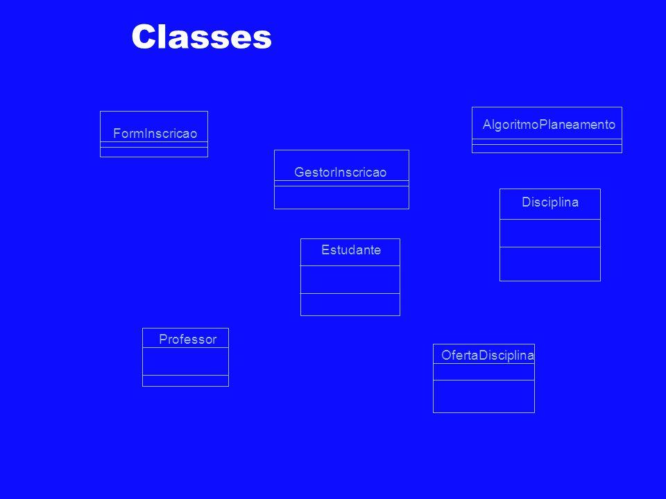 Classes FormInscricao GestorInscricao Disciplina OfertaDisciplina Professor Estudante AlgoritmoPlaneamento