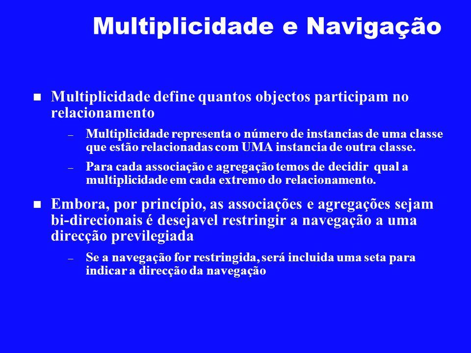 Multiplicidade e Navigação Multiplicidade define quantos objectos participam no relacionamento – Multiplicidade representa o número de instancias de u
