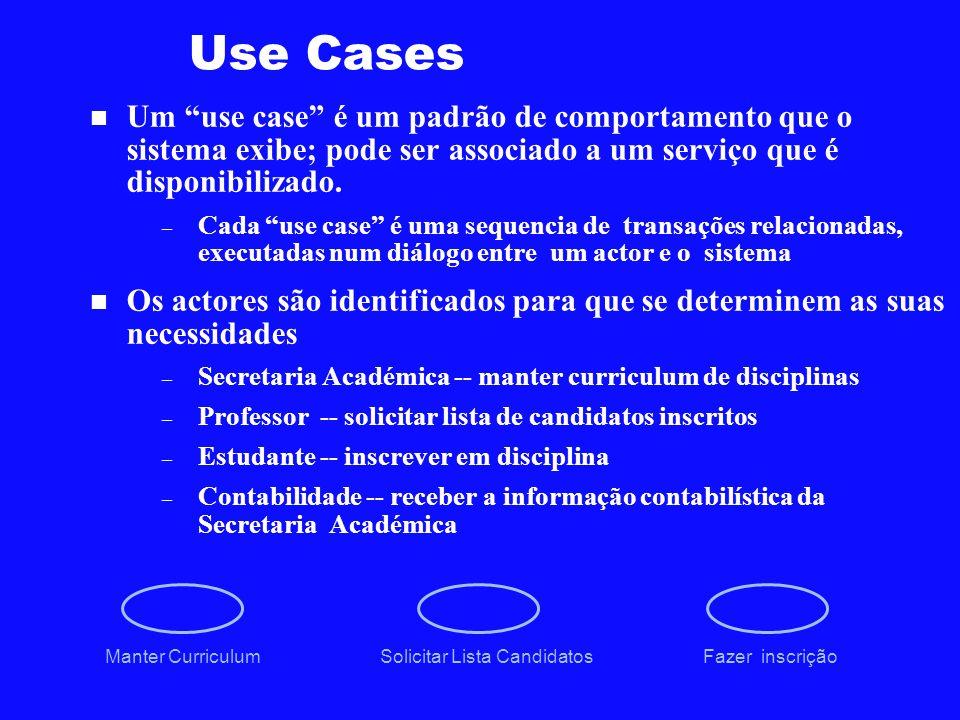 Use Cases Um use case é um padrão de comportamento que o sistema exibe; pode ser associado a um serviço que é disponibilizado. – Cada use case é uma s