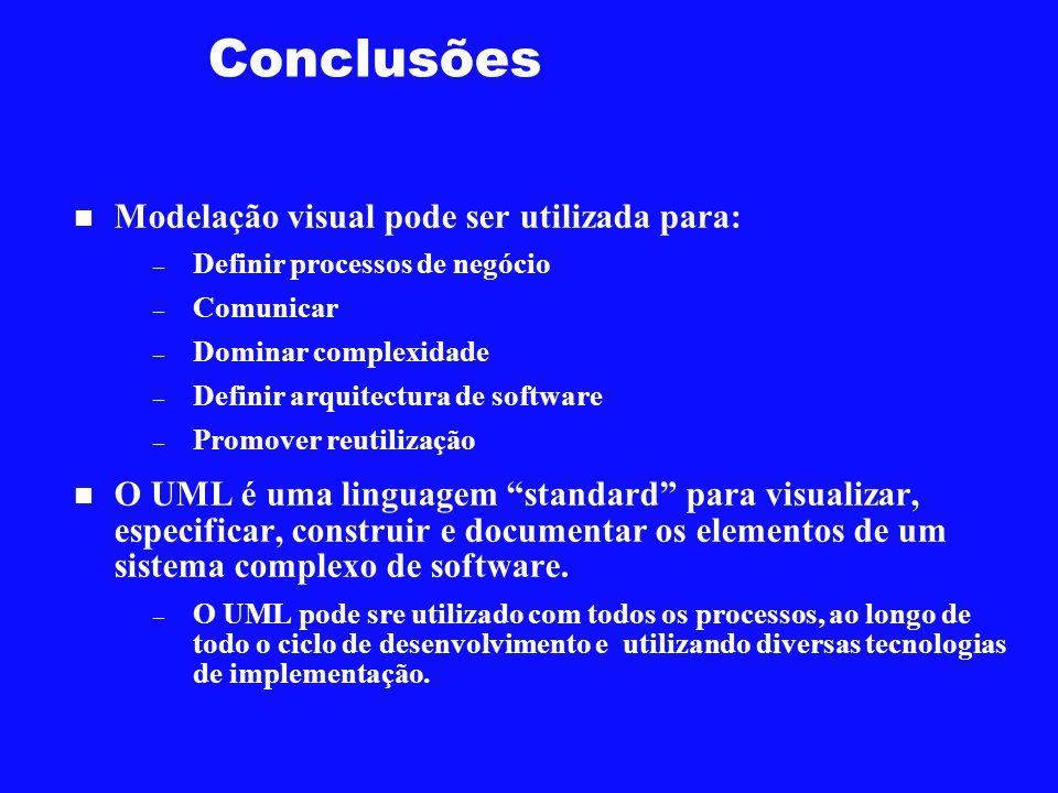 Conclusões Modelação visual pode ser utilizada para: – Definir processos de negócio – Comunicar – Dominar complexidade – Definir arquitectura de softw