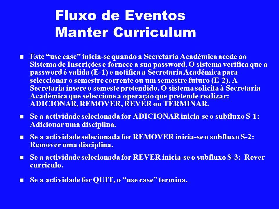 Fluxo de Eventos Manter Curriculum Este use case inicia-se quando a Secretaria Académica acede ao Sistema de Inscrições e fornece a sua password. O si