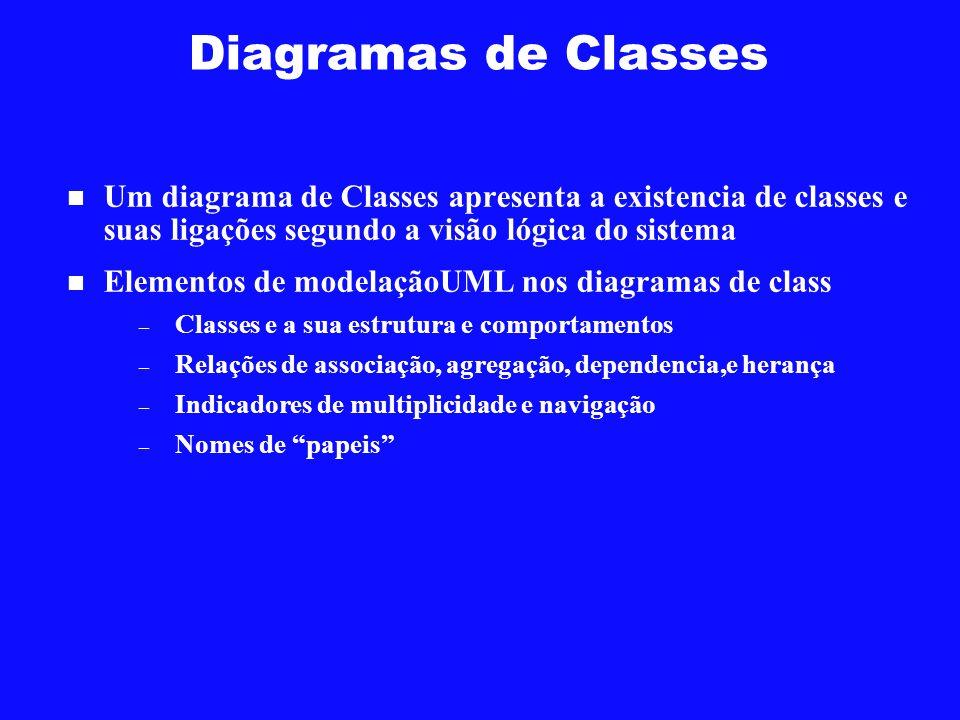 Diagramas de Classes Um diagrama de Classes apresenta a existencia de classes e suas ligações segundo a visão lógica do sistema Elementos de modelação