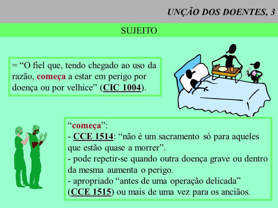 UNÇÃO DOS DOENTES, 3 SUJEITO = O fiel que, tendo chegado ao uso da razão, começa a estar em perigo por CIC 1004 doença ou por velhice (CIC 1004). come