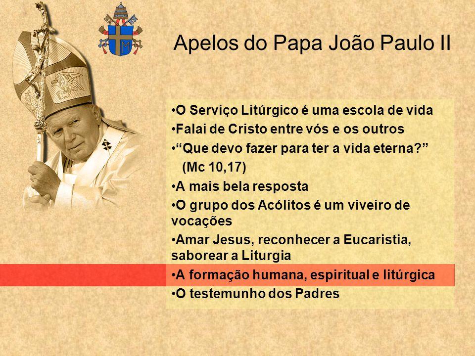 Apelos do Papa João Paulo II O Serviço Litúrgico é uma escola de vida Falai de Cristo entre vós e os outros Que devo fazer para ter a vida eterna? (Mc