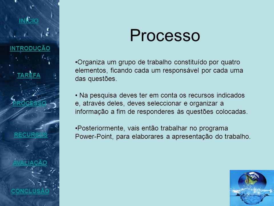 Processo INTRODUÇÃO TAREFA PROCESSO AVALIAÇÃO CONCLUSÃO INÍCIO RECURSOS Organiza um grupo de trabalho constituído por quatro elementos, ficando cada um responsável por cada uma das questões.