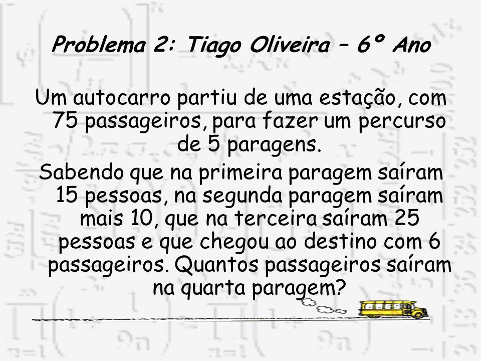 Problema 2: Tiago Oliveira – 6º Ano Um autocarro partiu de uma estação, com 75 passageiros, para fazer um percurso de 5 paragens. Sabendo que na prime
