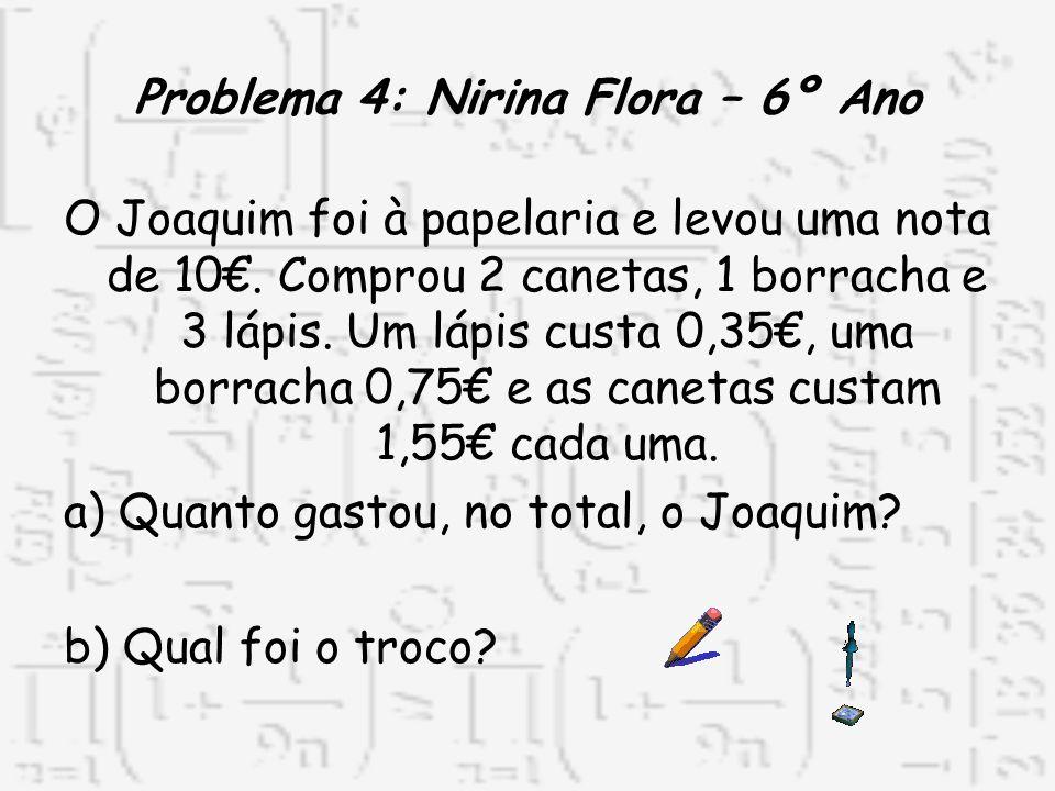 Problema 4: Nirina Flora – 6º Ano O Joaquim foi à papelaria e levou uma nota de 10. Comprou 2 canetas, 1 borracha e 3 lápis. Um lápis custa 0,35, uma
