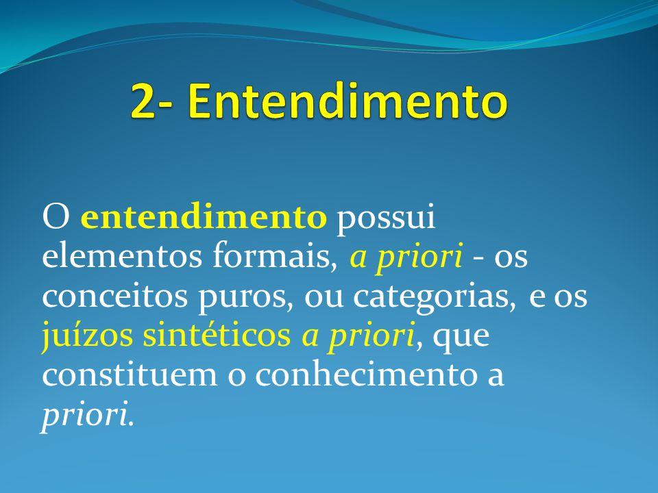 O entendimento possui elementos formais, a priori - os conceitos puros, ou categorias, e os juízos sintéticos a priori, que constituem o conhecimento