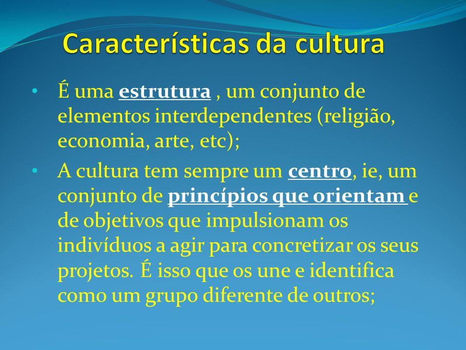 É uma estrutura, um conjunto de elementos interdependentes (religião, economia, arte, etc); A cultura tem sempre um centro, ie, um conjunto de princípios que orientam e de objetivos que impulsionam os indivíduos a agir para concretizar os seus projetos.