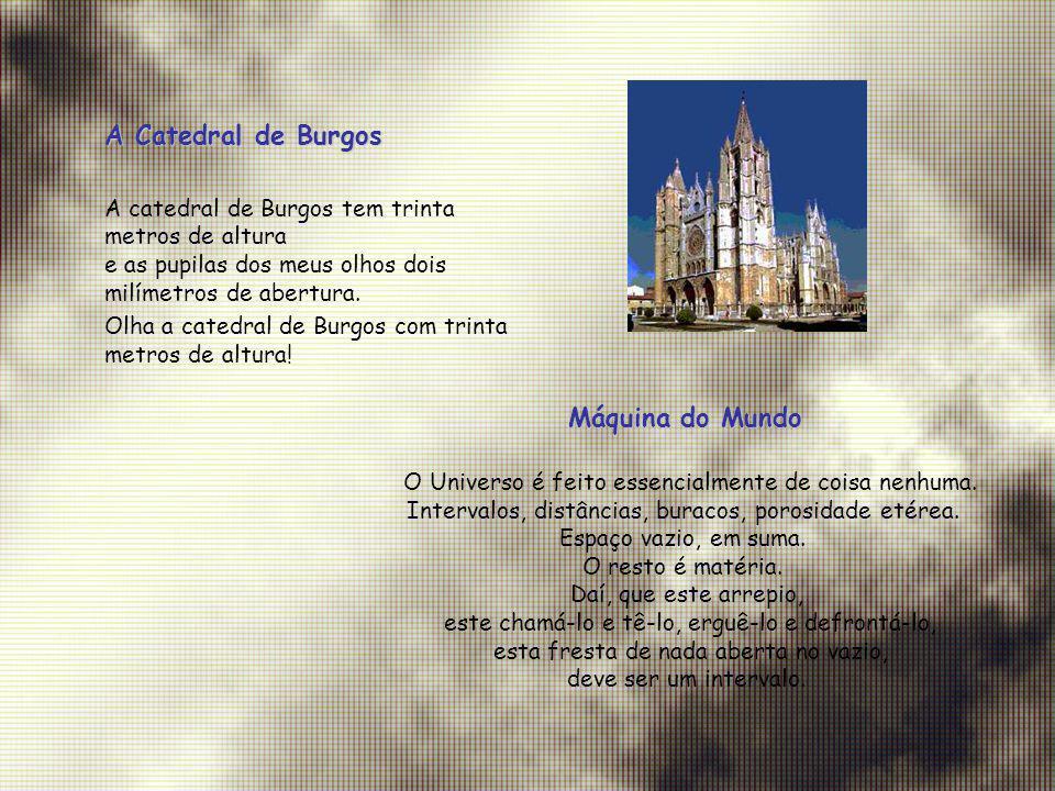 A Catedral de Burgos A catedral de Burgos tem trinta metros de altura e as pupilas dos meus olhos dois milímetros de abertura. Olha a catedral de Burg