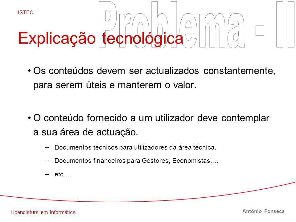 Licenciatura em Informática ISTEC António Fonseca Explicação tecnológica Os conteúdos devem ser actualizados constantemente, para serem úteis e manterem o valor.