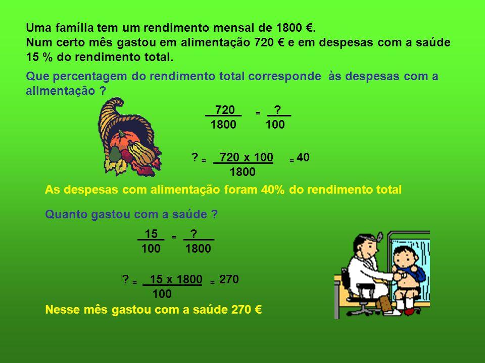 Uma família tem um rendimento mensal de 1800. Num certo mês gastou em alimentação 720 e em despesas com a saúde 15 % do rendimento total. Que percenta