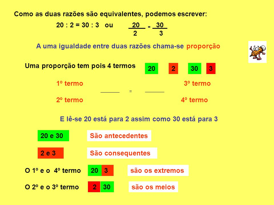 Como as duas razões são equivalentes, podemos escrever: 20 : 2 = 30 : 3 ou 20 _ 2 A uma igualdade entre duas razões chama-se proporção Uma proporção t