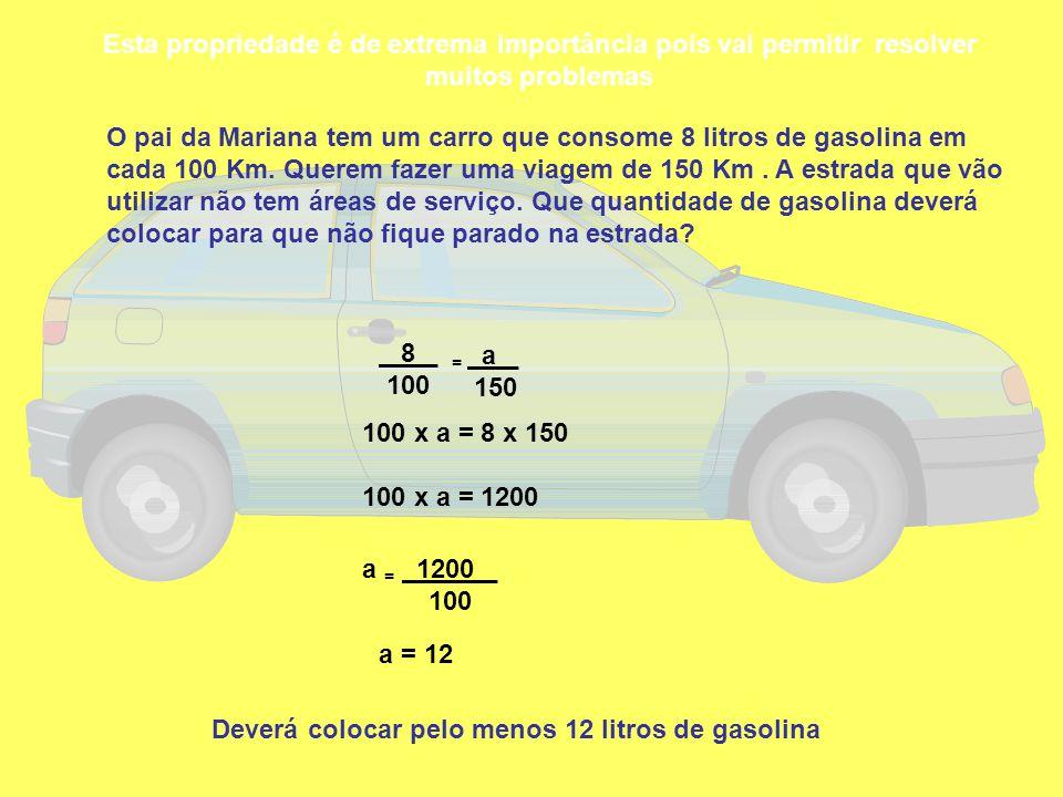 Esta propriedade é de extrema importância pois vai permitir resolver muitos problemas O pai da Mariana tem um carro que consome 8 litros de gasolina e