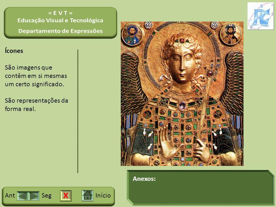Anexos: InícioSegAnt Ícones São imagens que contêm em si mesmas um certo significado. São representações da forma real.