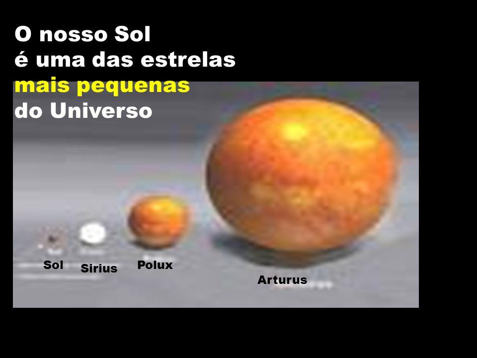 O nosso sol Arturus Polux Sirius Sol O nosso Sol é uma das estrelas mais pequenas do Universo