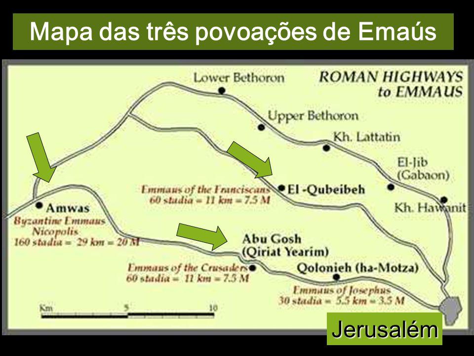 A localização de Emaús tem diversas tradições, todas a Oeste de Jerusalém. Deste evangelho, próprio de Lucas, discute-se a origem. Talvez seja um conv
