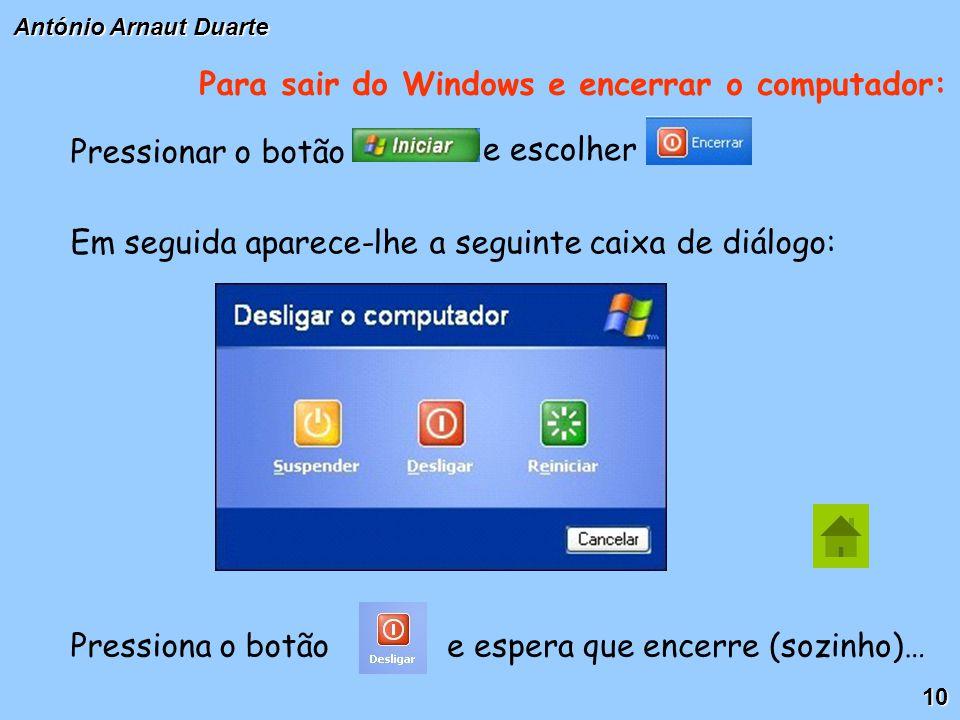 10 Para sair do Windows e encerrar o computador: Pressionar o botão e escolher Em seguida aparece-lhe a seguinte caixa de diálogo: Pressiona o botãoe espera que encerre (sozinho)…