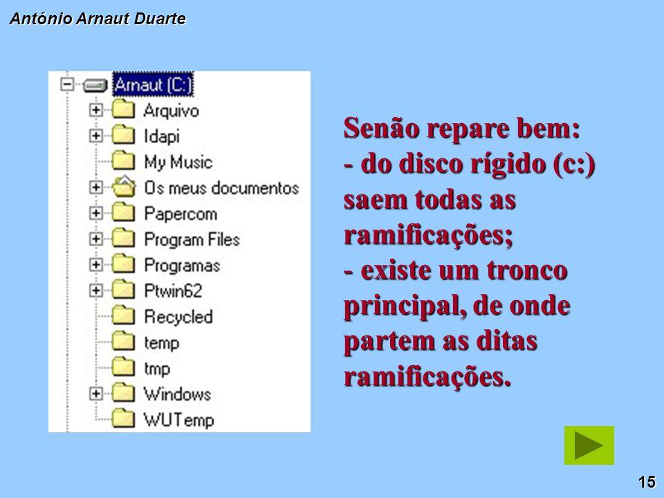 15 António Arnaut Duarte Senão repare bem: - do disco rígido (c:) saem todas as ramificações; - existe um tronco principal, de onde partem as ditas ramificações.