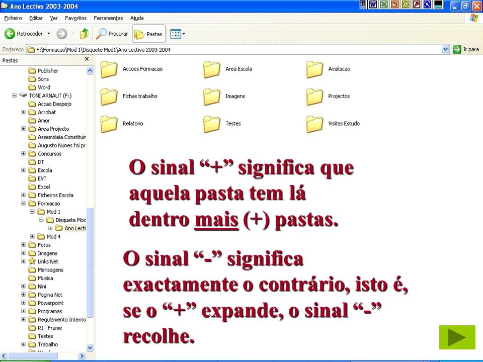 18 António Arnaut Duarte O sinal + significa que aquela pasta tem lá dentro mais (+) pastas. O sinal - significa exactamente o contrário, isto é, se o